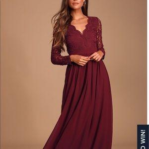 Awaken My Love Burgundy Long Sleeve Dress